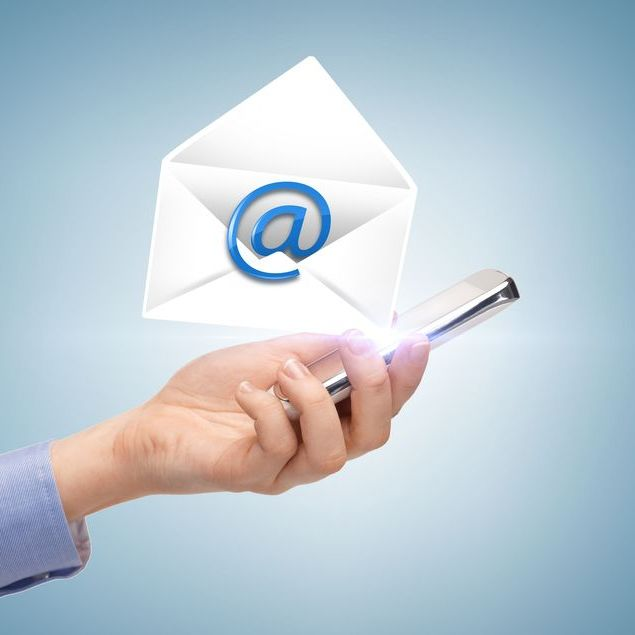 21219117 - business, communication and future technology - woman holding smartphone with email icon